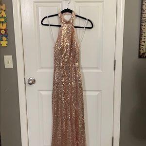 Rose gold sequin sleeveless floor length dress